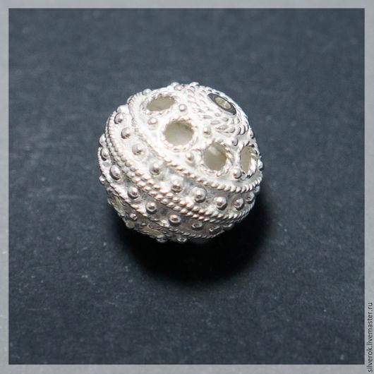 Для украшений ручной работы. Ярмарка Мастеров - ручная работа. Купить Бусина Ажурная №3 серебро 925 пробы. Handmade.
