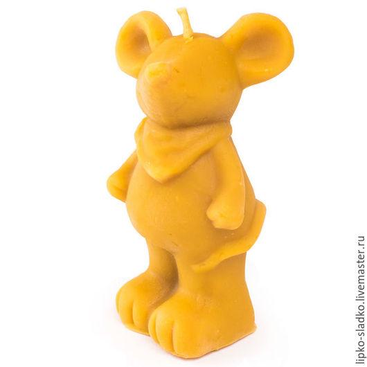 """Свечи ручной работы. Ярмарка Мастеров - ручная работа. Купить Свеча из натурального воска """"Мышь с банданой"""". Handmade. Оранжевый, мышка"""