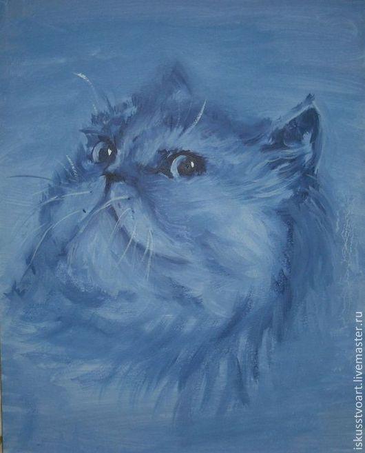 """Животные ручной работы. Ярмарка Мастеров - ручная работа. Купить """"Персидская кошка"""". Handmade. Синий, картина в подарок, картина маслом"""