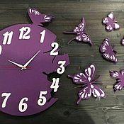 Часы классические ручной работы. Ярмарка Мастеров - ручная работа Настенные интерьерные часы деревянные Бабочки подарочные под заказ. Handmade.
