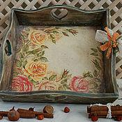"""Для дома и интерьера ручной работы. Ярмарка Мастеров - ручная работа Поднос """"Чайная роза.."""". Handmade."""