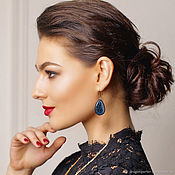 Украшения handmade. Livemaster - original item Blue drop earrings trendy