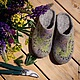 Обувь ручной работы. Ярмарка Мастеров - ручная работа. Купить Тапочки - Луговые травы. Handmade. Серый, тапочки из шерсти