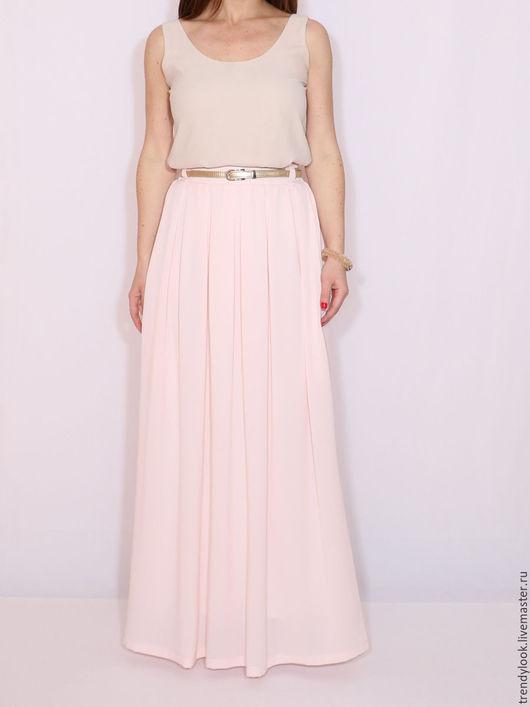 Юбки ручной работы. Ярмарка Мастеров - ручная работа. Купить Персиковая юбка, шифоновая юбка, длинная юбка с карманами. Handmade.