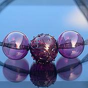 """Украшения ручной работы. Ярмарка Мастеров - ручная работа Колье """"Аметистовые сети с орнаментом"""" выдувное стекло. Handmade."""