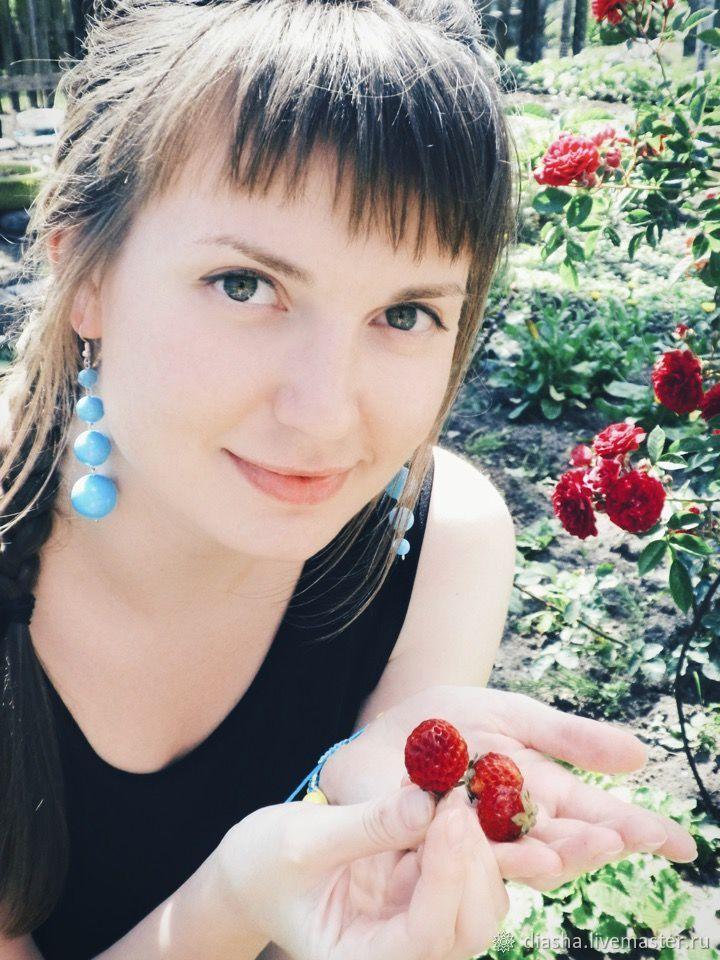 Long Hanging Different Blue Sky Earrings, Earrings, Kaliningrad,  Фото №1