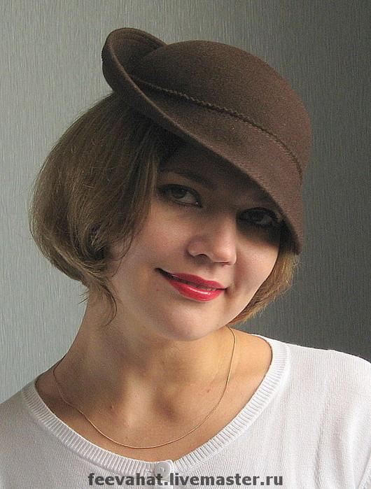 """Шляпы ручной работы. Ярмарка Мастеров - ручная работа. Купить Шляпка на обруче """"Шоколад"""". Handmade. Осень, фетровая шляпа, однотонный"""