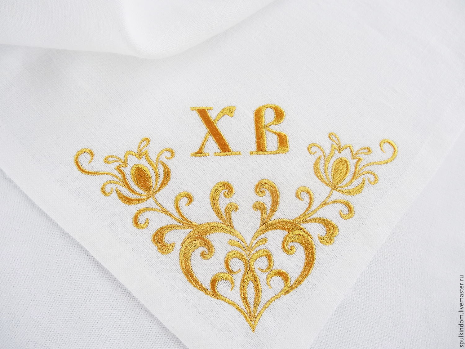 Easter napkin with embroidered `Bright day`  `Sulkin house` embroidery workshop