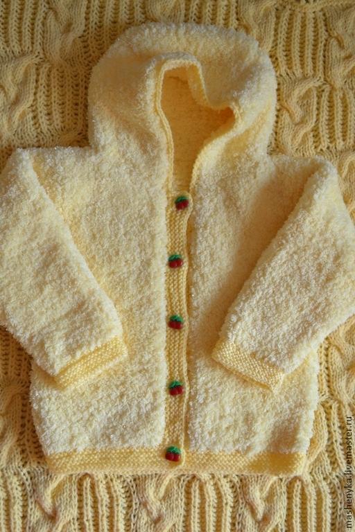 Одежда для девочек, ручной работы. Ярмарка Мастеров - ручная работа. Купить Курточка пушистая c капюшоном. Handmade. Желтый