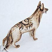 handmade. Livemaster - original item German shepherd porcelain, black painted in gold. Handmade.