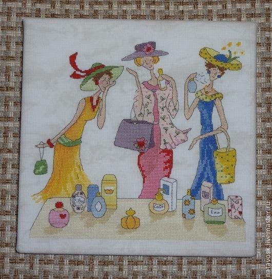 Люди, ручной работы. Ярмарка Мастеров - ручная работа. Купить Вышивка крестом серия Подруги Парфюм. Handmade. Вышивка, розовый