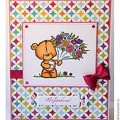 Открытки ручной работы. Ярмарка Мастеров - ручная работа открытка с медвежонком Milton. Handmade.