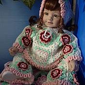 Куклы и игрушки ручной работы. Ярмарка Мастеров - ручная работа Костюм «Пионы» с бусинами (штанишки, кофточка, косыночка). Handmade.