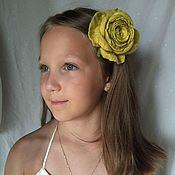 Украшения handmade. Livemaster - original item The hair clip from felt Yellow rose. Handmade.
