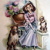 """Картины ручной работы. Ярмарка Мастеров - ручная работа Картина маслом  """"Дама с собачками"""" винтаж. Handmade."""