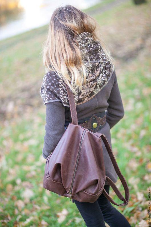 Рюкзаки ручной работы. Ярмарка Мастеров - ручная работа. Купить Рюкзак кожаный FreeForm. Handmade. Коричневый, кожаный рюкзак женский