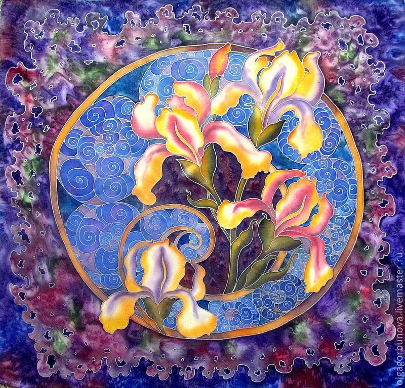 Batik scarf 'Mystical irises', Shawls1, Yaroslavl,  Фото №1