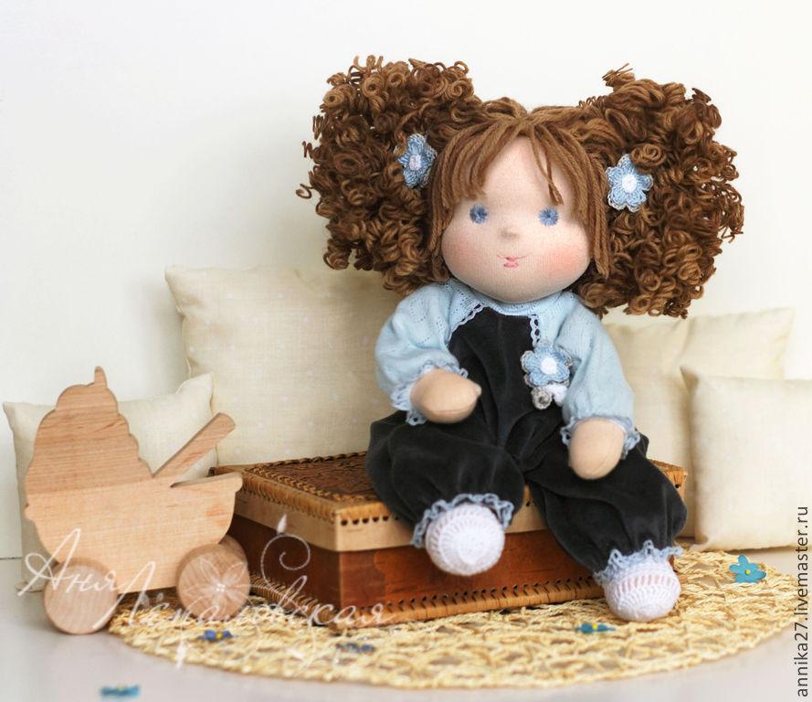 Купить Рисальдинка Катюша - васильковый, рисальдинка, рисальдина, кукла с крупой, рис, крупяная кукла