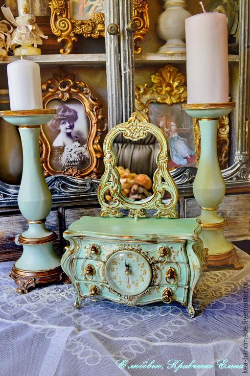 """Шкатулки ручной работы. Ярмарка Мастеров - ручная работа. Купить Мини комодик с зеркалом """"Шарлотт"""". Handmade. Мятный, шкатулка, винтаж"""