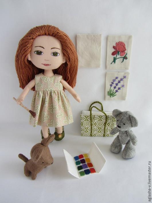 Коллекционные куклы ручной работы. Ярмарка Мастеров - ручная работа. Купить Акварель. Handmade. Бежевый, краски, хлопок 100%