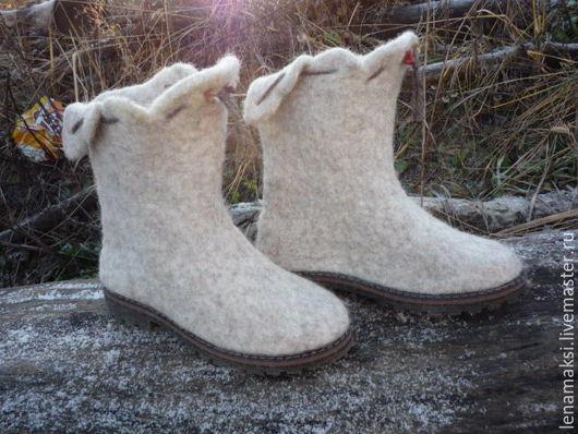 """Обувь ручной работы. Ярмарка Мастеров - ручная работа. Купить Валенки """"Кантри"""". Handmade. Бежевый, женская обувь, бергшаф"""