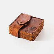 Сувениры и подарки handmade. Livemaster - original item A set of coasters made of leather with engraved. Handmade.