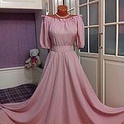 Одежда ручной работы. Ярмарка Мастеров - ручная работа Штапельное платье в пол Пыльная роза. Handmade.