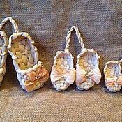 Декор для флористики ручной работы. Ярмарка Мастеров - ручная работа Лапти декоративные-3 размера. Handmade.