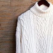 Одежда ручной работы. Ярмарка Мастеров - ручная работа Мужской шерстяной белый свитер с узорами аран большого размера.. Handmade.
