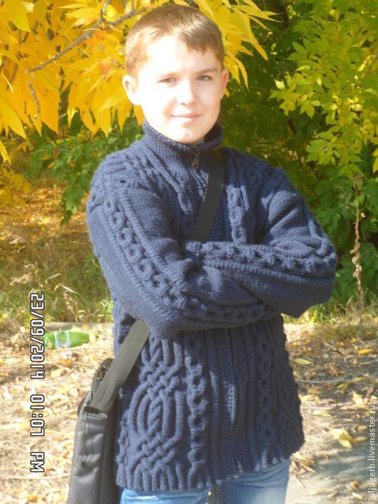 Для мужчин, ручной работы. Ярмарка Мастеров - ручная работа. Купить пуловер мужской. Handmade. Тёмно-синий, пуловер вязаный
