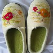 """Обувь ручной работы. Ярмарка Мастеров - ручная работа женские валяные тапочки """"Птички"""" валяные тапочки 100% шерсть. Handmade."""