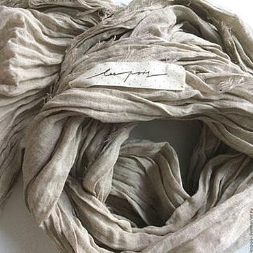 Аксессуары ручной работы. Ярмарка Мастеров - ручная работа Льняной шарф. Handmade.