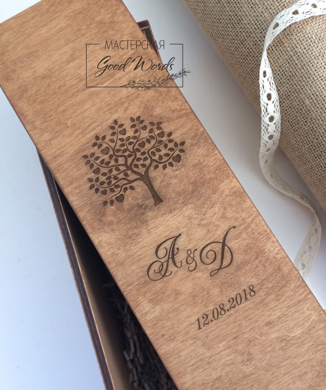 Wooden box for wine ceremony, Wedding bottles, Zheleznodorozhny,  Фото №1