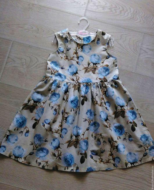 Одежда для девочек, ручной работы. Ярмарка Мастеров - ручная работа. Купить платье Монализа. Handmade. Голубой, платье летнее