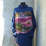 Одежда ручной работы. Ярмарка Мастеров - ручная работа платье вязаное из итал, твида оверсайз. Handmade.
