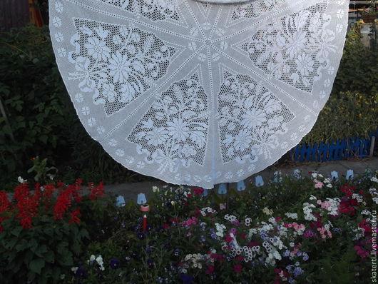 Текстиль, ковры ручной работы. Ярмарка Мастеров - ручная работа. Купить большая круглая скатерть Ромашковое лето. Handmade. Белый