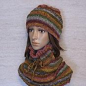 Аксессуары ручной работы. Ярмарка Мастеров - ручная работа Комплект  шапка и шарф снуд из пряжи Noro. Handmade.