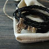 Украшения handmade. Livemaster - original item Leather bracelet with Thor`s Hammer ,Viking bracelet ,Slavic bracelet. Handmade.