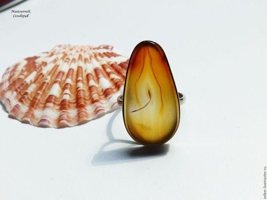 Кольца ручной работы. Ярмарка Мастеров - ручная работа. Купить Кольцо с агатом Гори, гори, моя свеча. Handmade. Рыжий