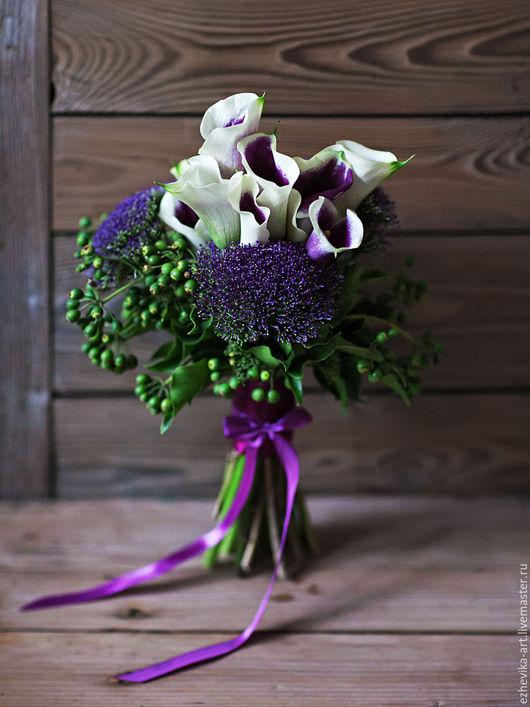Свадебные цветы ручной работы. Ярмарка Мастеров - ручная работа. Купить Букет невесты / Поздравительный букет. Handmade. Фиолетовый