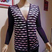 Одежда ручной работы. Ярмарка Мастеров - ручная работа Кардиган жакет вязанный комбинированный с цветными полосами протяжками. Handmade.