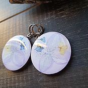 Earrings handmade. Livemaster - original item Lavender earrings with flowers hydrangea and forget-me-nots. Handmade.