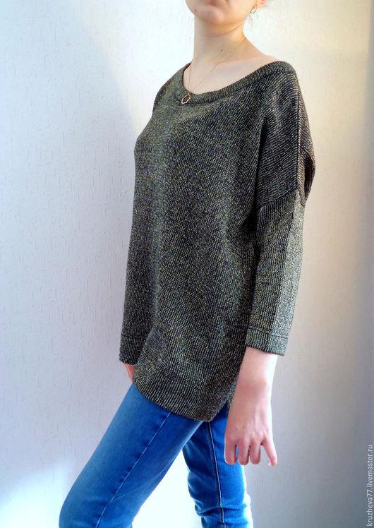 Кофты и свитера ручной работы. Ярмарка Мастеров - ручная работа. Купить В наличии. Пуловер с блеском 44-48 размера из шерсти с люрексом. Handmade.