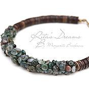 Украшения handmade. Livemaster - original item Short necklace with Indian agate, chalker, green, brown herbal. Handmade.