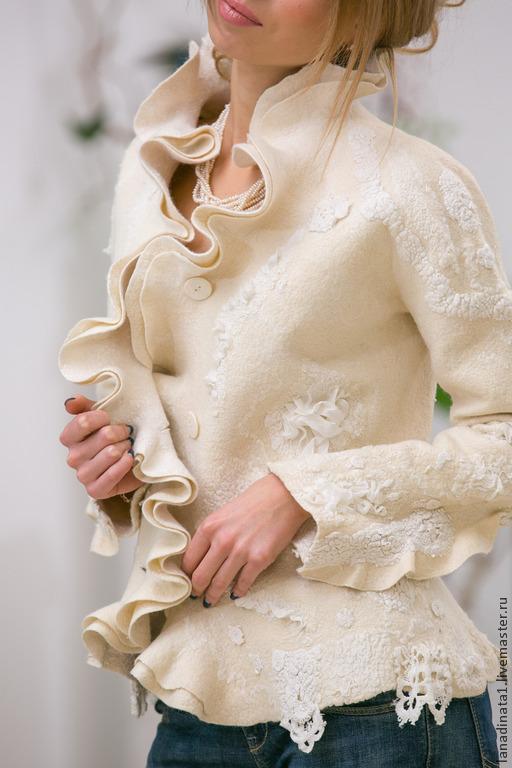 """Пиджаки, жакеты ручной работы. Ярмарка Мастеров - ручная работа. Купить Жакет  """"Elegante bianco"""". Handmade. Белый"""