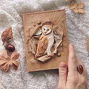 Канцелярские товары handmade. Livemaster - original item A notebook with a barn owl. Handmade.