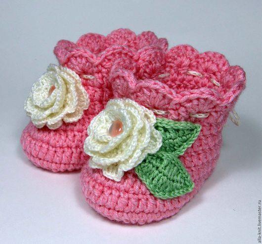Для новорожденных, ручной работы. Ярмарка Мастеров - ручная работа. Купить Пинетки сапожки теплые для новорожденной малышки. Handmade. Розовый