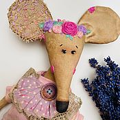 Чердачная кукла ручной работы. Ярмарка Мастеров - ручная работа Цветочная мышь в розовом. Handmade.