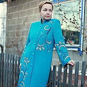 "Одежда handmade. Livemaster - original item Knitted coat ""Patterns in turquoise"". Handmade."