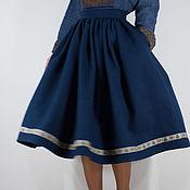 Одежда ручной работы. Ярмарка Мастеров - ручная работа Тёмно-синяя шерстяная юбка. Handmade.